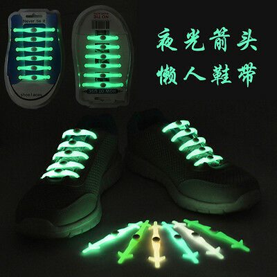 No Tie Luminous Shoelaces Elastic Silicon Shoe Laces For Canvas Running Sneakers