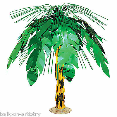 "18"" Tropical Luau Party Foil Palm Tree Cascade Table Centrepiece Decoration"
