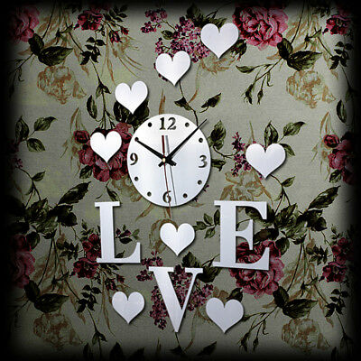 Plastic Love DIY 3D Mirror Wall Clock Sticker Decor for Home Office Kids Room