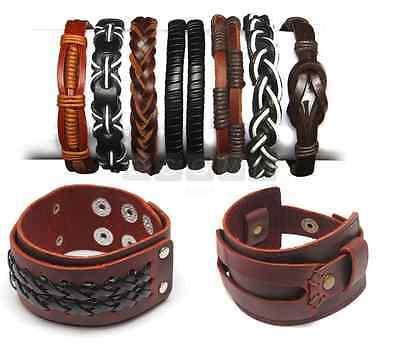 Mens Leather Braided Wristband Surfer Bracelet Bangle Magnetic Steel Clasp