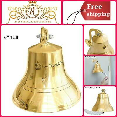 Wall Mount Solid Brass Ships Bell With Rope Indoor Outdoor Use Nautical Decor 6""