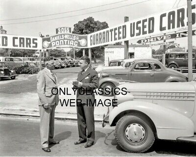 1938 Daniels-Wells Pontiac Auto Dealer Car Lot Photo Salesman Oakland California