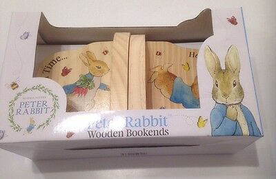 Peter Rabbit wooden bookends christening new baby gift nursery decoration