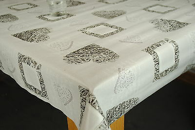 Woven Hearts Grey Vinyl Wipe Clean Pvc Tablecloth