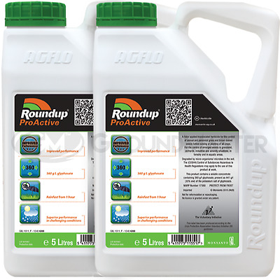 2 x 5L Roundup ProActive 360 Strong Professional Glyphosate Weedkiller