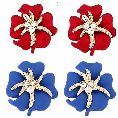 Gorgeous Blue & Red Hand Painted Austrain Crystal Tropical Flower Earrings D2