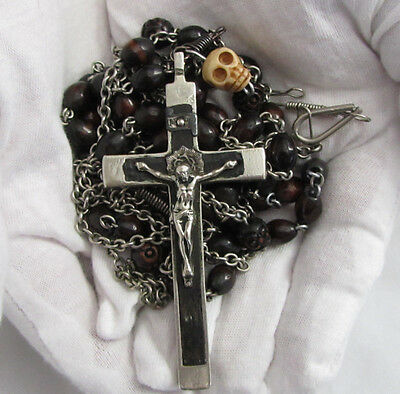 "† HTF c1800s ANTIQUE NUN'S 5 DECADE HABIT BELT ROSARY 47"" SKULL BONES CRUCIFIX †"