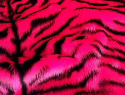 Animal Fun Faux Fur Fabric Material - CERISE PINK TIGER