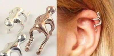 Climbing Man Naked Climber Ear Cuff Helix Cartilage Running Silver Gold Bronze