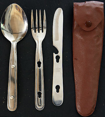 Vintage set of Stainless Steel Nesting Camping Cutlery (Knife Fork Spoon) + case