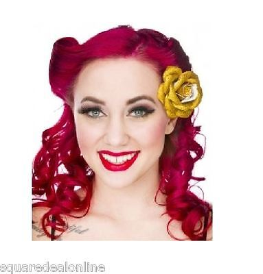 60081 Gold Glitter Rose Flower Hair Clip Sourpuss Pinup Retro Kawaii Sparkles