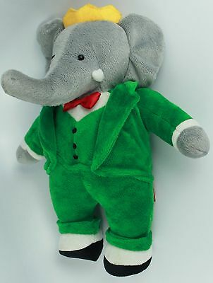 "vintage Gund Babar Plush Elephant Green Coat Style Stuffed Plush 12"" - 1988 toy"