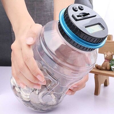 Digital Coin Saving Money Box Jar Automatic Clear Electronic Counting Piggy Bank