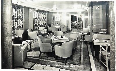 Scarce / Vintage P&o Himalaya Real Photo Postcard. The Australian Room.