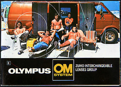 Weird Olympus OM Camera System Brochure/Pamphlet w/ shirtless guys, nudity, etc.