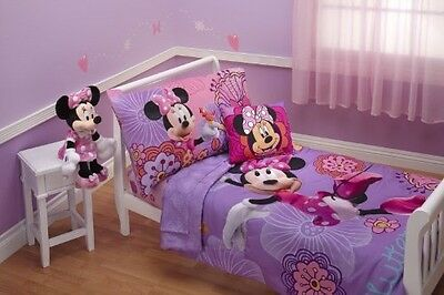 4 Piece Minnie Mouse Bedding Set Girls Toddler Comforter Sheets Bed Cover