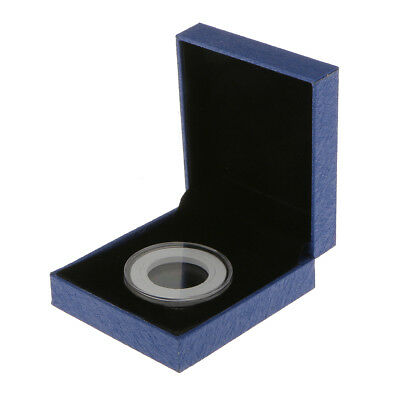 Presentation Box Display Case Coin Collection Gift for Single 38MM Coin Blue