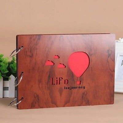 DIY 30Pages 19.5 x 26.5cm Wood Cover 3 Rings Photo Album Scrapbook BALLOON