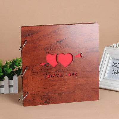 DIY 30Pg 26.9 x 26.4cm Wood Cover 3Ring Photo Album Wedding Scrapbook FOREV LOVE