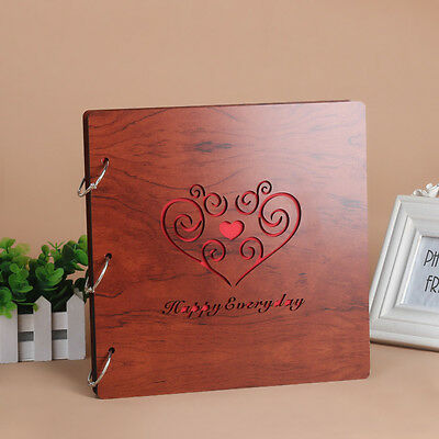 DIY 30Pg 26.9x26.4cm Wood Cover 3Ring Photo Album Wedding Scrapbook HAPPYEVERYDA