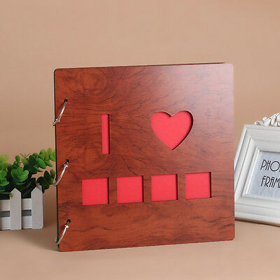 DIY 30Pages 26.9x26.4cm Wood Cover 3Rings Photo Album Wedding Scrapbook I LOVE