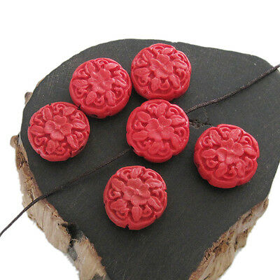 6Pcs Red Coral Peony Flower Design Beads Finding