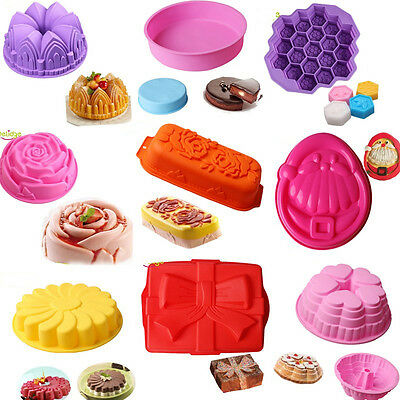 12 Styles Large Size Cake Pan Bread Chocolate Pizza Baking Tray Silicone Mold