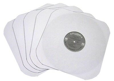 """(50) Heavyweight INNER LP RECORD SLEEVES 12"""" White Paper Round Corners With Hole"""