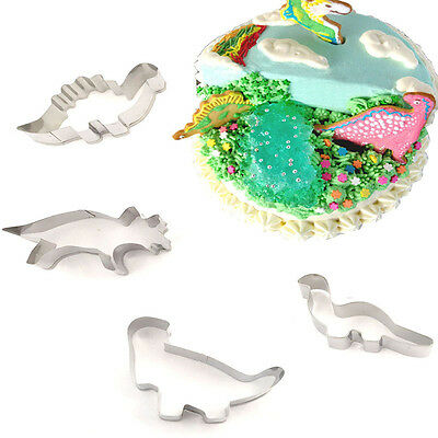 4pcs Stainless Steel Dinosaur Cutter Biscuit Cookies Pastry Cake Fondant Mould