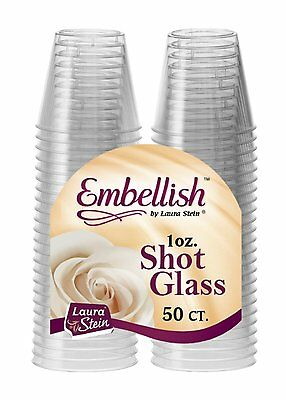 Embellish Clear Hard Plastic Disposable Party Shot Glasses Jelly 1oz 30ml
