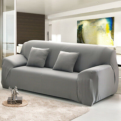 3 Seater Stretch Fabric Fit Sofa Lounge Home Removable Cover Slipcover Gray