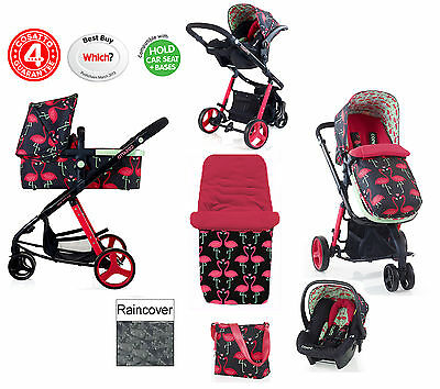 Cosatto Giggle Flamingo Fling 3 In 1 Travel System Pushchair 0+ Carseat Carrycot