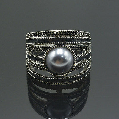 Quality Vintage Sterling Pearl Ring with Marcasite Stone Embellishments