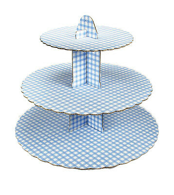 Culpitt GINGHAM BLUE 3 Tier Cupcake Cake Stand Display Birhtday Party Decoration