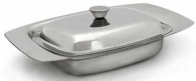 Stainless Steel Butter Dish Serving Tray Holder Lid Storage Fridge Cream Cheese