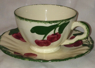 Blue Ridge Southern Pottery Cherry Coke Cup & Saucer Red Cherries Green Trim