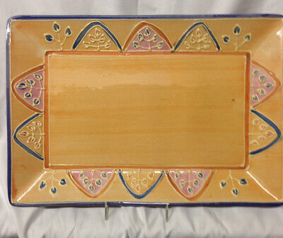"Block Basics Canyon 14 3/4"" Rectangular Serving Platter Orange Blue Arches Bands"