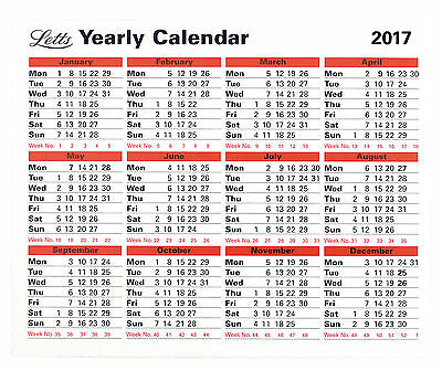 Letts Yearly Desktop Free Standing or Wall Mounted Office Calendar Planner 2017