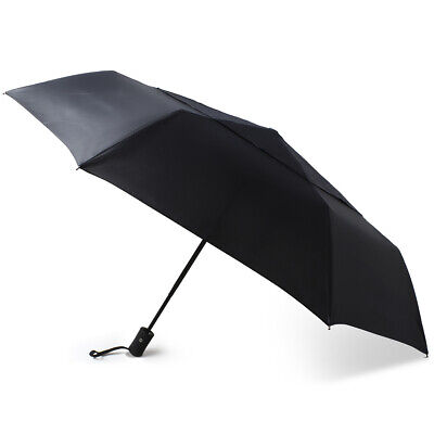 Black Auto Open & Close Windproof Travel Umbrella Compact Folding Mens Womens