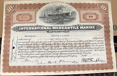 International Mercantile Marine stock certificate dated 1930's 10 shares
