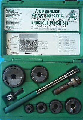 "Greenlee 7238SB Slug-Buster 1/2"" to 2"" Knockout Kit with Ratchet Wrench Ex/Mint"
