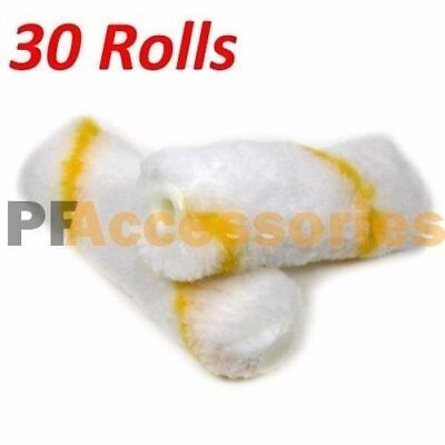 "30 Rolls 4"" inch Mini Paint Roller Covers Refill Gold Stripe Soft Woven 1/2"" Nap"