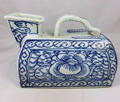 Antique Chinese Urinal / Chamber Pot - Blue and White Porcelain - Floral