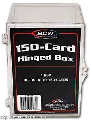 (5) BCW-HB150 BCW Trading Card Boxes Hinged Holds 150 Cards Cases Plastic Clear