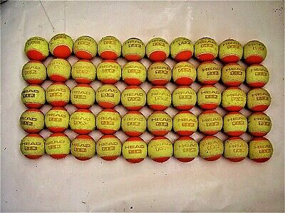 Used 50 Stage 2 Low Compression Tennis Balls. 50% Slower Ball For Beginners