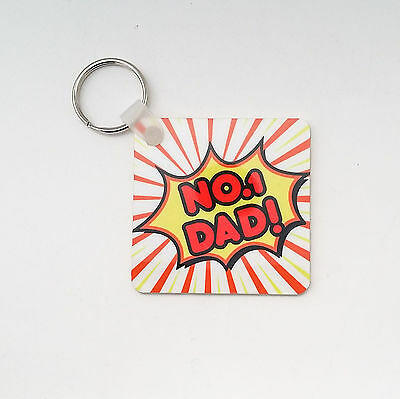 NUMBER 1 DAD Keyring DOUBLE SIDED Key Chain PLASTIC Key Ring For DAD Gift