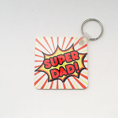 SUPER DAD Keyring DOUBLE SIDED Key Chain PLASTIC Keyring For DAD Fathers Gift