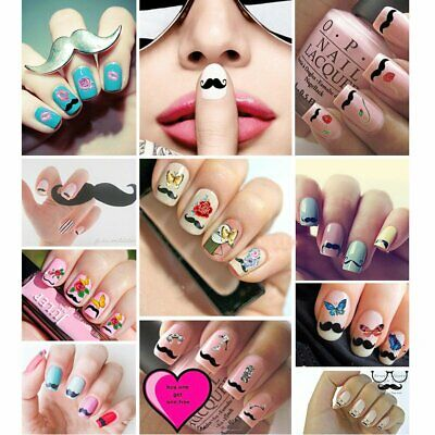 50 Fogli 3D Stickers Adesivi Decal Nail Art Decorazione Unghie Tips Design IT
