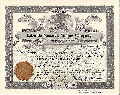 2 different.  Lakeside Monarch Mining  Company stock certificate Utah.