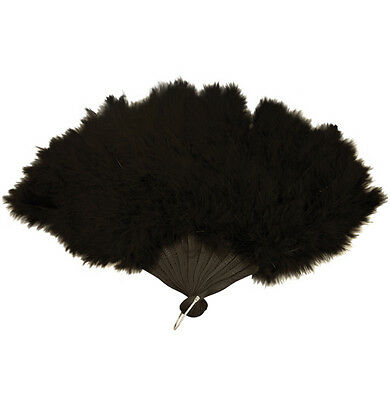 Black Feather Hand Fan Ladies Burlesque Fancy Dress Costume